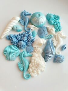 20 Edible Sugar Mermaid Seashells, Seahorses, Coral, Cake Decorations Topper