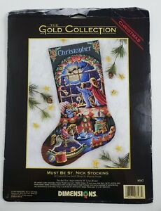 """Xstitch Kit  The Gold Collection Must Be St. Nick Stocking 16"""" Long Dimensions"""