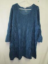Denim & Co. 3/4 Sleeve Open Crochet Tunic Sweater 2X A266864