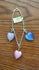 LADIES BRACELET WITH CREATED CATS EYE HEARTS  925 STERLING SILVER CHAIN 7 IN NWT
