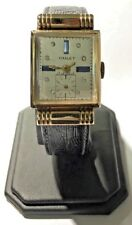 14k Yellow Gold Vintage Chalet Mechanical Wind Up Collectors Blue Sapphire Watch