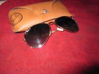 Vintage B&L Ray Ban Aviator Sunglasses #58014 Gold Tone W/ Case