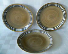 Set of 3 ~ Vintage NORLEANS NIAGARA Stoneware Salad Dessert Plate Brown JAPAN