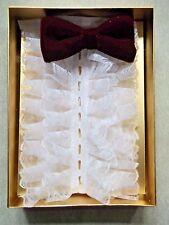 Bow Tie Vintage 1970s & DICKIE SHIRT SET RUFFLE FRILL BURGUNDY VELVET BOWTIE NEW