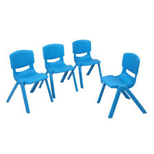 Set of 4 Kids Plastic Chairs Stackable Play and Learn School Home Furniture Blue