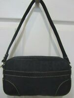 MICHAEL KORS Black Logo Canvas & Black Leather Handbag Hobo Purse GUC