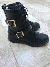 Womens black biker style boots size 6