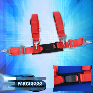 """4-Point 2"""" Red Nylon Universal Strap Harness Safety Buckle Racing Seat Belt"""