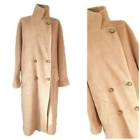 St Michael womens Vintage Coat size 14 42 Brown Angora Wool Full Length 46""