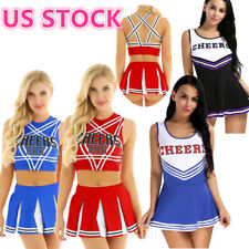 US _Sexy Women's Cheers Costume Cosplay Fancy Dress Crop Top Mini Skirt Outfits
