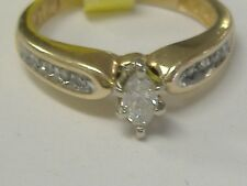 VINTAGE 14 K GOLD 0.20CT TW  DIAMOND ENGAGEMENT RING SIZE 4,5, ROUNDS/MARQUISE