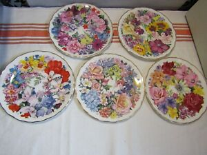 5 Royal Albert Plates From Bouquet For The Queen Mother Collection