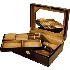 Laminated Mahogany Jewellery Box with Lift Out Tray