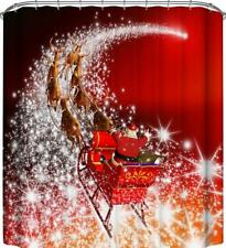 Babbo Natale Santa Riding Slitta Natale Renna Tenda Da Doccia Bagno