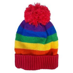 LGBT Gay Lesbian Pride Month Glam Rock 80s Punk Unicorn Rainbow Beanie Ski Cap