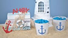 20 Nautical Anchor Glitter Stickers Sailing Party Favour Envelope Seals Blue