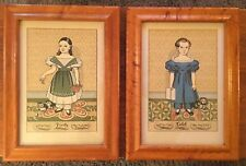 Early American Folk Art Pair Framed Portraits Caleb Verity Birch Frames