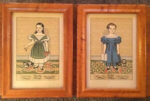 Early American Folk Art Pair Framed Portraits Caleb Verity Birch Frames