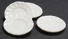 Miniature Dollhouse Set of 4 White Porcelain Fluted Edge Plates 1:12 Scale New