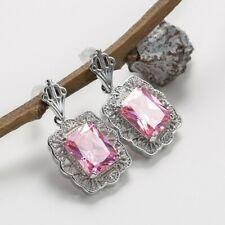 Sparking Square Cut Shine Sweet Pink Topaz Gemstone Silver Dangle Stud Earrings
