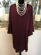 Women's clothing plus size Beautiful Burgundy  Long Bell Sleeves.Pull Over Sz3x