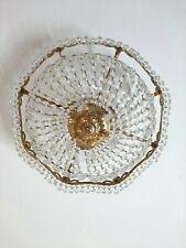 Vintage Italian Crystal Glass Brass Chandelier  Lamp