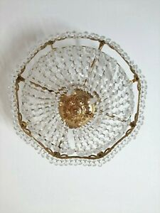 Vintage Italian Crystal Glass Brass Chandelier  Lamp