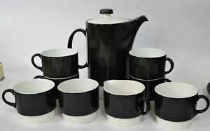 Poole English Ceramic Pottery Coffee Pot and Mugs in Charcoal Mid Century Design