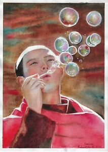 original painting A4 225GM art samovar watercolor Realism man  blow bubbles