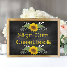 Sign Our Guestbook Wedding Table Sign Rustic Chalkboard Look-Sunflowers Unframed