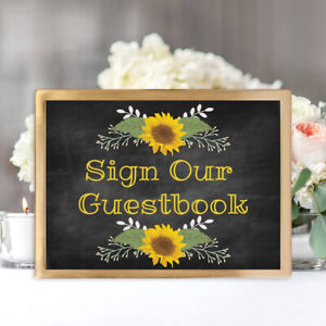 Sign Our Guestbook Wedding Print - 8 x 10 Rustic Sunflower