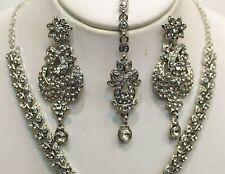 New Indian Bollywood Costume Jewellery Necklace Set Silver Design Wedding  tikka