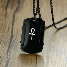 Religious Men Necklace Chain Pendant Egyptian Ankh Cross Dog Tag Stainless Steel