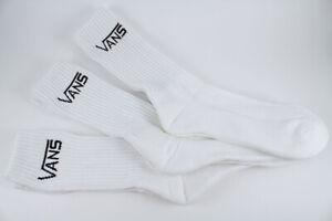VANS CLASSIC CREW SOCKS 3 PAIR PACK WHITE COTTON NEW US MENS SHOE SIZE 6.5-13