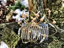 Swarovski crystal and gold pearl hair comb
