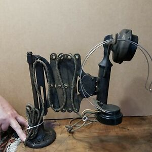 Antique Western Electric Railroad Scissor Accordion Type Telephone