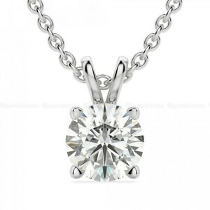 Moissanite Solitaire Wedding Pendant Solid 14K White Gold Round 1 CT For Women's