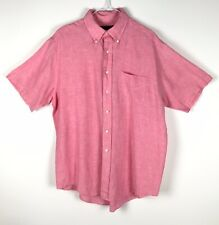 BROOKS BROTHERS Button-down Shirt Size L Pink 100% Irish Linen