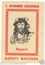 Pierre Terrail Seigneur de Bayard chevalier   OLD MATCHBOX LABEL