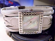 Women's Bongo Fiery MOP Dial Watch BG1295. 9 Element Wide Band. 28 Faceted Gems!