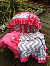 baby car seat cover canopy cover Blanket Set fit most infant seat h-pink