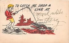 To Catch Me Drop A Line At.Greeting Postcard c1900s Man Catches Alligator