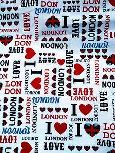 LOVE LONDON, UNION JACK, ICONIC, fabric 100% cotton /PER METRE/
