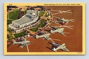 Postcard TX Dallas Texas Aerial View Municipal Airport Love Field c1940s AB19