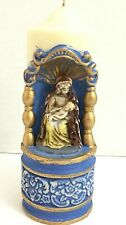 """VIRGIN MARY holding Baby Jesus, Figural Pillar Candle, Wax, Painted, 7"""","""
