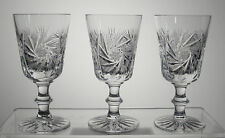 "PINWHEEL CRYSTAL Sherry Glasses 5"", SET OF THREE, Attributed to BOHEMIA"