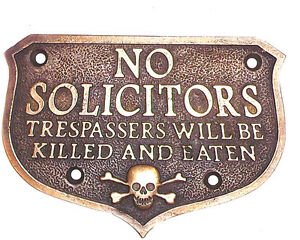 No Solicitors Solid Brass Plaque Antique Finish