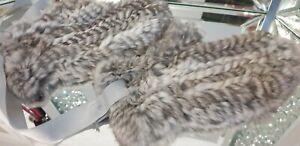 Echtes Fell, Handschuhe Kaninchenfell, gestrickt Grau