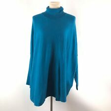 Joseph A Womens Turtleneck Pullover Sweater Size Large Blue Long Sleeve