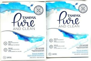 2 Tampax Pure & Clean 16 Ct Regular Absorbency Plastic Applic Unscented Tampons